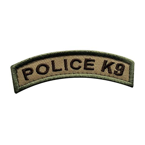 uuKen Small Embroidery Fabric Cool Police K9 Unit Tab Tan Multi Camo Style Shoulder Airsoft Tactical Patch with Hook Fastener (Tan, 8.5x2 cm)