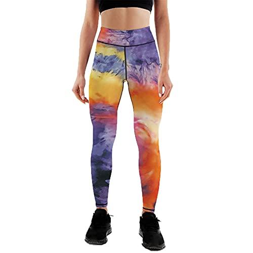 Leggins Mujer Push Up Pantalones Fitness Mallas, Tie tinte de las mujeres estampados de tintes Leggings High Cintura a tope Levantamiento Flaco Yoga Pantalones Entrenamiento Running Gimnasio Transport