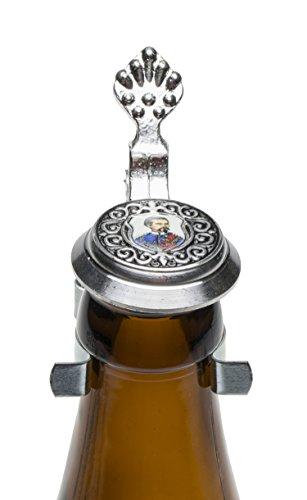Schnabel-Schmuck Flaschenverschluß, Silber u. farbiges Bild, 5 x 5 cm