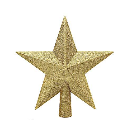 MICHETT Weihnachtsbaumspitze Stern Baumschmuck Glitzernde Christbaumspitze Weihnachtsbaumschmuck Deko Bruchsicherer Kunststoff für Weihnachtsbäume Jeder Größe (Golden)