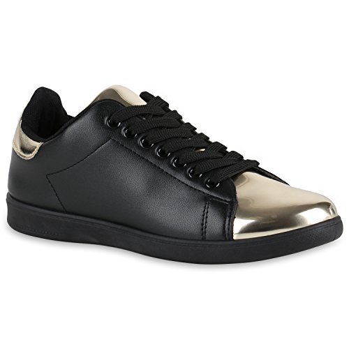 Damen Sneakers Sneaker Low Cap Sport Leder-Optik Freizeit Schnürer Prints Samt Trainers Allyear Schuhe 132336 Schwarz Gold 36 Flandell