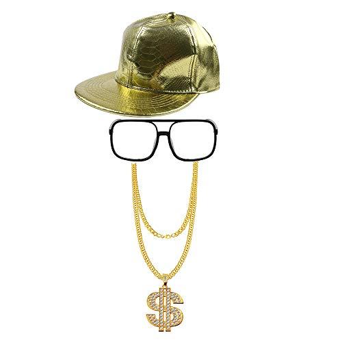 Vientiane Hip Hop Kostüm Kit, Baseball Cap, Sonnenbrille, Goldkette, Retro Style 80er / 90er Rapper Zubehör, Adult 80er Party Theme Zubehör