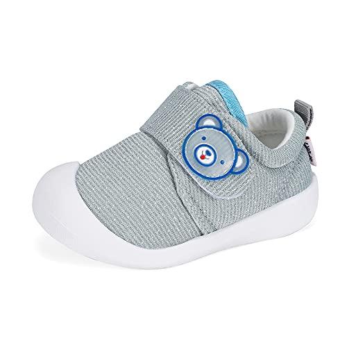 MASOCIO Baby Schuhe Junge Lauflernschuhe Babyschuhe Kleinkind Glitzern Flach Anti-Rutsch Grau Größe 20