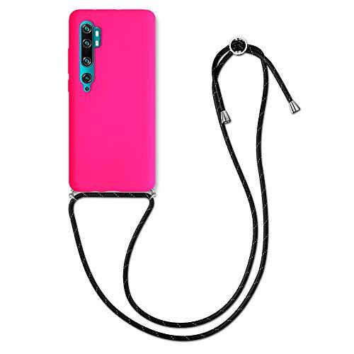 kwmobile Funda con Cuerda Compatible con Xiaomi Mi Note 10 / Note 10 Pro - Carcasa de TPU Mate con Colgante en Rosa neón/Negro