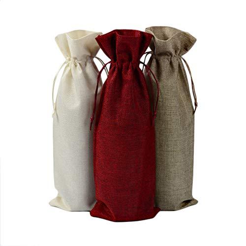 9 piezas de yute dorado botella de vino bolsa con cordón 15x35...