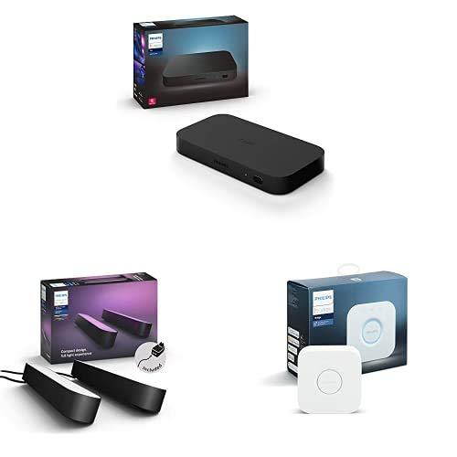 Philips Hue Play HDMI Sync Box Caja de sincronización para TV / PC y Luces Philips Hue + Philips Hue Play Barra de luz Regulable, Negra + Philips Hue Puente de Conexión Controlable vía WiFi