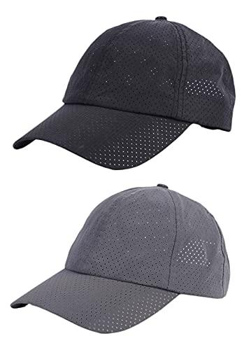 Effnny 2 Pack Gorras Casuales de Algodón de Béisbol para Hombres Mujeres Cuatro Estaciones (2 Paquetes Gris Oscuro/Negro)