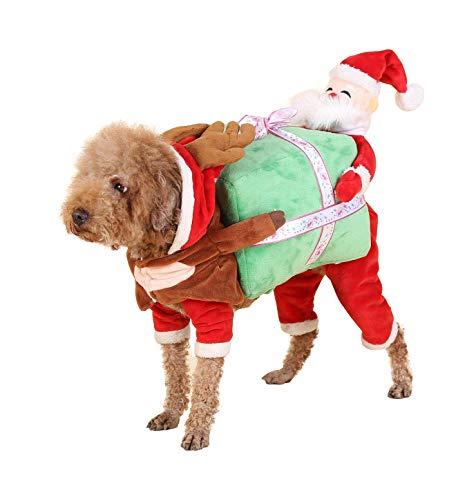 Iris Sprite Weihnachtskostüm Haustier Katze Hunde Anzug mit Kappe Santa Claus Kostüm Hoodie Samt Mantel Jumpsuit Kleiner Hund Kleidung (M (Rückenlänge 13.8 '', Gewicht 9.9-13.2lb)