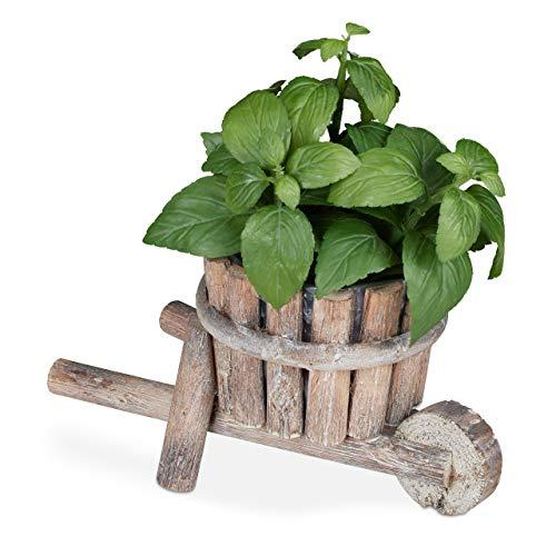 Relaxdays, Natur Pflanzschubkarre Holz, Gartendeko, Shabby Chic Design, Blumenkarre zum Bepflanzen, HBT: 14 x 27 x 15 cm