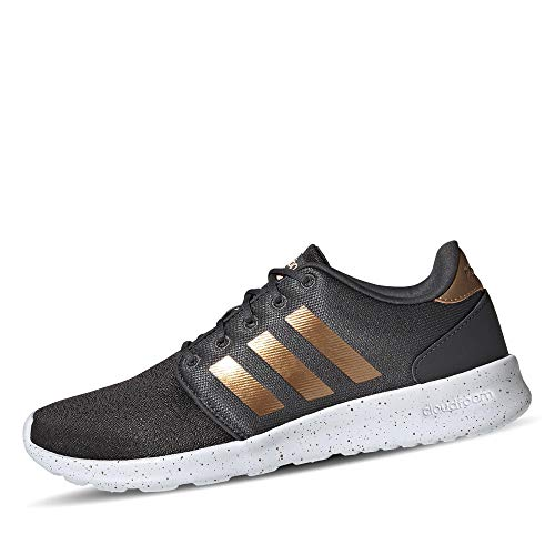 adidas Women's Cloudfoam QT Racer Xpressive-Contemporary Cloadfoam Running Sneakers Shoes, Grey Six/tactile gold met./ftwr White, 5.5 M US