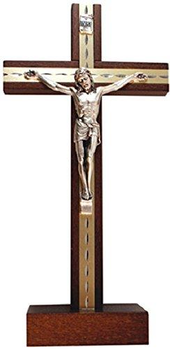 Buche Holz stehend Kruzifix & Lourdes Gebet Karten