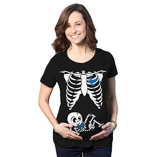 Crazy Dog Tshirts - Maternity Baby Boy Skeleton Cute Halloween Pregnancy Bump Tshirt (Black) - S - Femme
