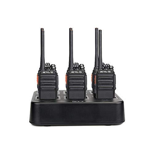 Caseof6,Retevis H-777S Walkie Talkies Long Range,with Six Way Multi Gang Charger,Two Way Radios Rechargeable for Jobsite,Restaurant,Church,Commercial