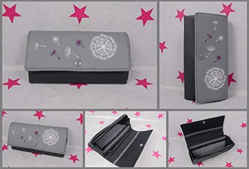 pinkeSterne ☆ Portemonnaie PUSTEBLUME Geldbörse Geldbeutel Brieftasche Handmade Grau Schwarz Stickerei