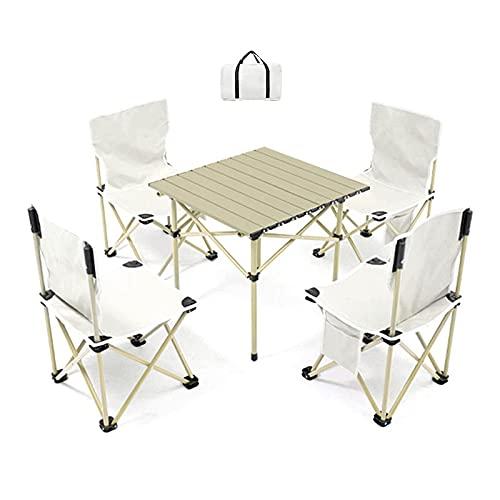 ZCZZ Juego de mesa de picnic y silla plegable al aire libre, mesa plegable de aleación de aluminio, para barbacoa, camping, viaje, fácil de almacenar (color: 4 en 1, tamaño: 40 x 40 x 32 cm)