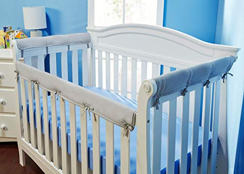 Everyday Kids Padded Baby Crib Rail Cover Set- Crib Rail Teething Guard - 3-Piece Front and Side Padded Rail Cover- with Sewn Ties for Secure Fit - Grey Soft Microfiber Polyester …