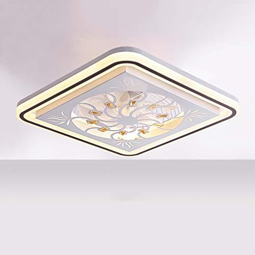 LED Fan Deckenlampe Leise Deckenventilator mit Beleuchtung und Fernbedienung Ventilator Dimmbar für Wohnzimmer-Lampe Schlafzimmer Wohnzimmer Kinderzimmer Leise Fan Beleuchtung Rechteck Deckenleuchte