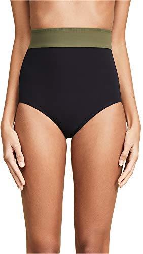 Flagpole Women's Arden High Rise Bikini Bottoms, Black/Olive, X-Large