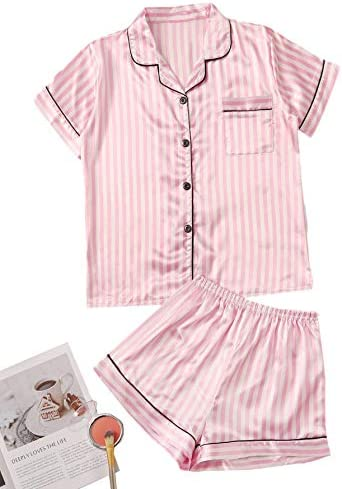 Floerns Women s 2 Piece Satin Striped Notched Collar Button Front Short Pajama Set A Pink M product image