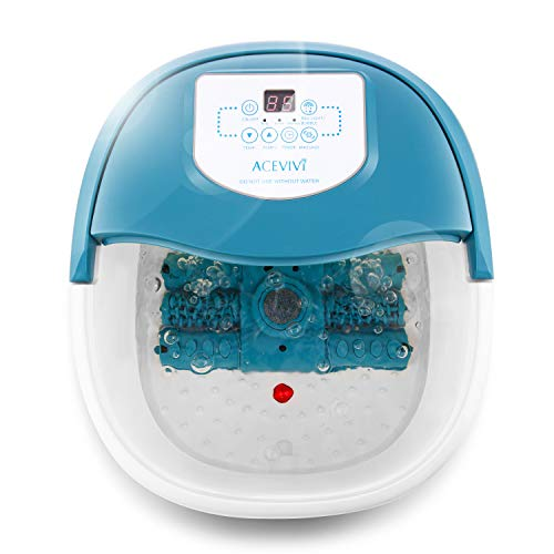 ACEVIVI foot spa bath massager with heat, foot bath tub with bubble jets red light and roller TIME and Temperature adjustable