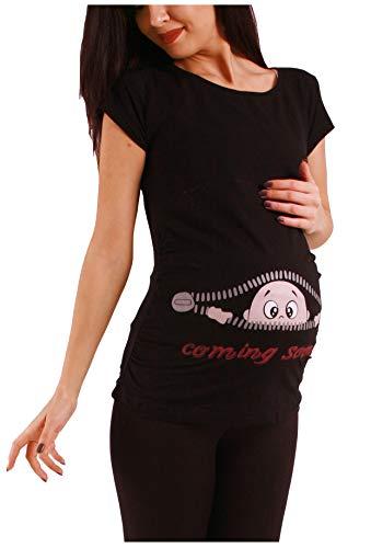 M.M.C. Coming Soon - Premaman Abbigliamento Donna Magliette Premaman T-Shirt Divertente Gravidanza - Maniche Corte maternità (Nero, Medium)