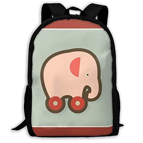 TRFashion Mochila Backpack Elephant On Orange Wheels Zipper School Bookbag Daypack Travel Rucksack Gym Bag For Man Women