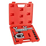 Flexzion SAE 45 Degree Double Flare Brake Line Flaring Tool Kit with (3/16, 1/4, 5/16, 3/8, 1/2') Adapters...