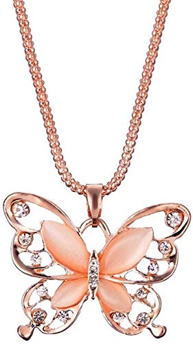 necklace Ladies fashion Jewelry pendant chain sweater women's rose gold opal pendant butterfly jewelry gift autumn and winter sweater girl Ms. Hoisting