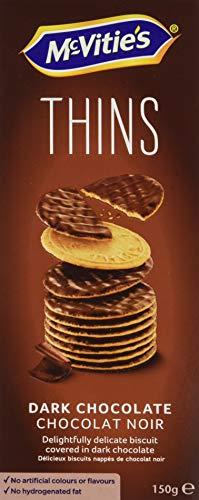 McVitie's THINS Dark - der zarte Weizenkeks mit Zartbitterschokolade überzogen, 1er Pack (1 x 150 g)