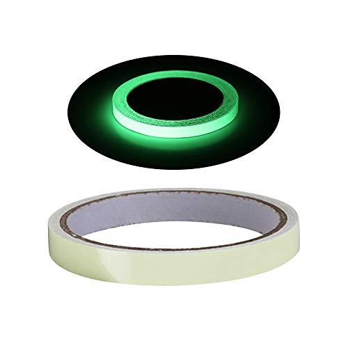 Cinta fluorescente, 10 m × 15 mm, resistente al agua, luminosa tira de advertencia, brilla en la oscuridad, cinta autoadhesiva de seguridad, suministros de escenario, calcomanía decorativa para pared, luz verde