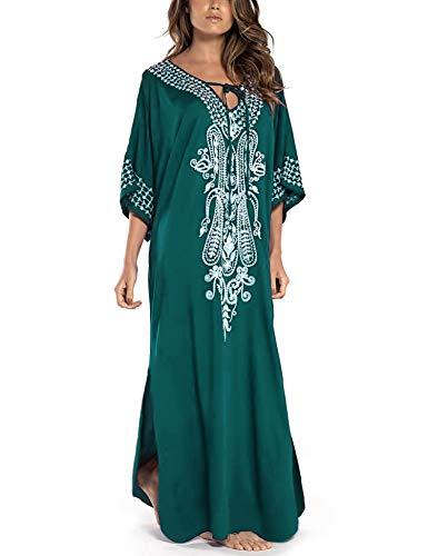Orshoy Damen Beach Blusen Kimono Cardigan Lang Bikini Cover Up Sommer Maxikleid Lose Kaftan Kleid für Urlaub und Strand One Size A01 Grün