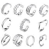 FIBO STEEL 12 Pcs Open Toe Rings for Women Vintage Retro Wave Flower Celtic Knot Arrow Tail Band Toe Ring Adjustable Silver-tone