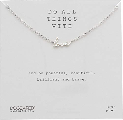 Dogeared Women's Do All Things with Love, Love Script Necklace Sterling...