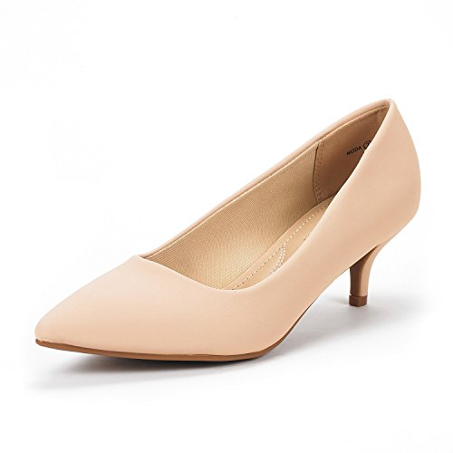 DREAM PAIRS Women's Moda Nude Nubuck Low Heel D'Orsay Pointed Toe Pump Shoes Size 8 M US