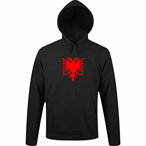 Sol's/ Fassbender-Druck Kapuzenpulli/Hoodie Albanien mit Tascheneingriff vorne/Pullover / Sweater/Unisex / S – XXL (S Schwarz)