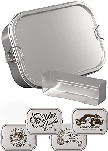 DUDE BOX Brotdose Edelstahl 1200ml | auslaufsicher & nachhaltig | Lunch Box Erwachsene mit Trennwand | Bento Box Butterbrotdose Brotbüchse mit Fächern (Silber)