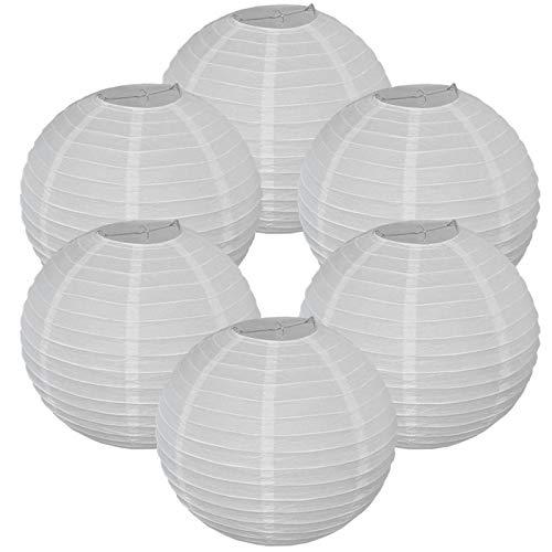 Dekorative runde chinesische japanische Papierlaterne (6 Stück) (weiß, 25,4 cm)