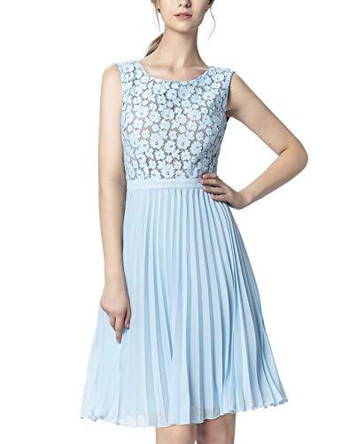 APART Damen Partykleid mit Oberteil aus Blütenspitze, hellblau, 36