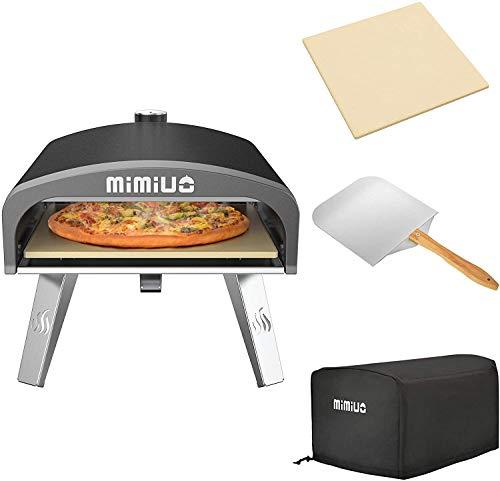 Mimiuo forno per pizza a gas con regolatore a gas britannico, portatile classico G-Oven rivestito nero, include pietra per pizza e 30,5 x 35,6 cm, con manico in legno