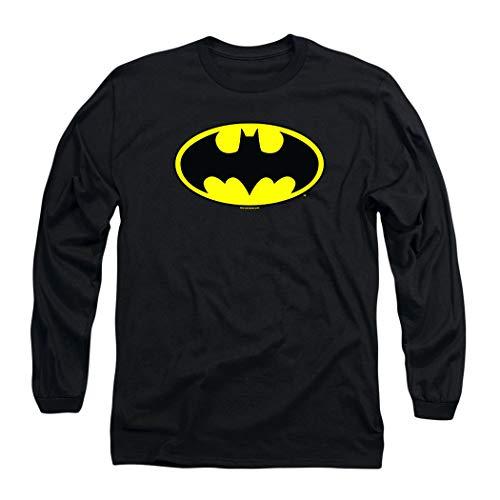 Batman Classic Logo Long Sleeve T-Shirt & Stickers (Medium) Black