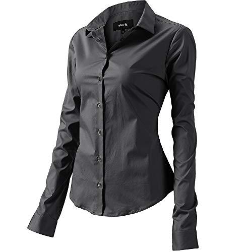 FLY HAWK Bluse Hemdbluse Damen Hemd Basic Kent-Kragen Elegant OL Work Slim Fit Langarm Stretch Formelle Hemden,Grau, Größe 46, Hersteller - 18