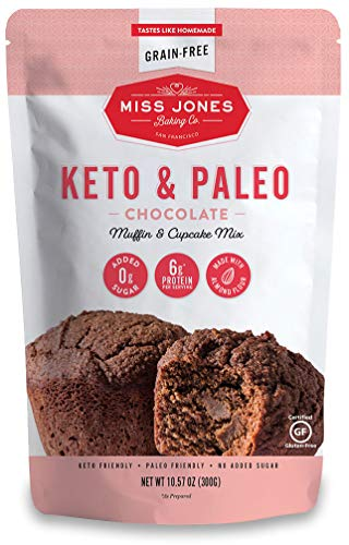Miss Jones Baking Keto Chocolate Muffin & Cupcake Mix - Gluten Free, Low Carb, No Sugar Added, Naturally Sweetened Desserts & Treats - Diabetic, Atkins, WW, and Paleo Friendly