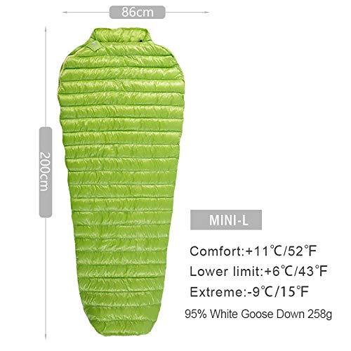 Générique Mini Sac de Couchage en Duvet d'oie Blanc Ultra léger 95% Duvet d'oie de Style Momie 800FP 200 x 86 cm (Couleur : Vert)