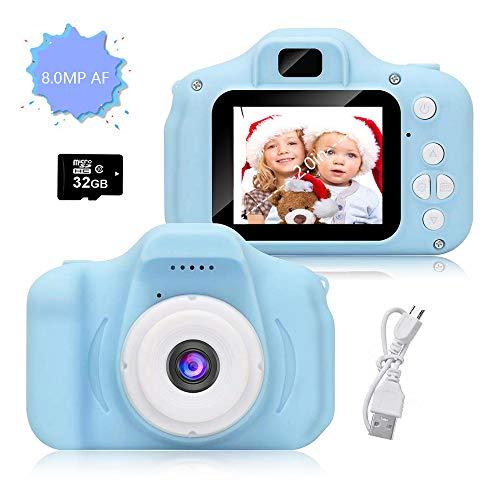 Cámara para Niños, Infantil Cámara de Fotos Digital con 32GB Tarjeta de Memoria, Videocámaras Juguetes, Fotos de 8 Megapíxeles, Pantalla de 2.0 Pulgadas, Niños y Niñas Cumpleaños Regalo(Azul) (Azul)