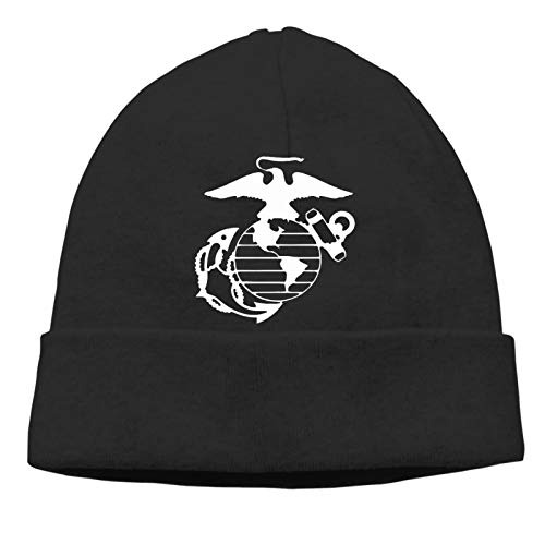 Adult Hedging Cap Marine Corps Emblem Silhouette,Beanie Hat Soft Winter and Activewear Watch Cap/Black