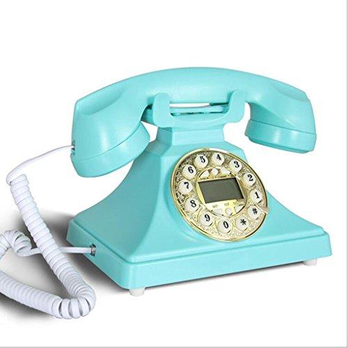 YSNUK El teléfono Fijo Azul clásico de los años 70 del Estilo del Vintage del Vintage Ofrece el Anillo de Campana Tradicional y el dial del botón Teléfono rotatorio