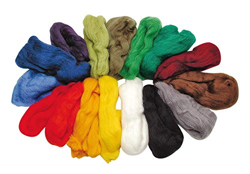 Märchenwolle, 16 Farben, Merino-Schafswolle Filzwolle Filzen, 100 g