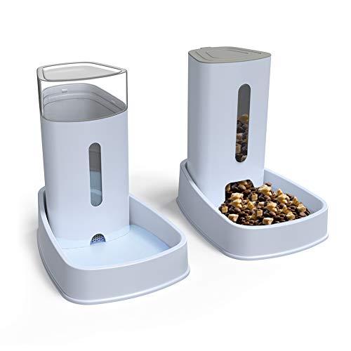 YGJT Automatischer Futterspender Katze/Hunde Wasserspender mit Filter | Haustier Automatischer Wasserspender,Futterautomat Kitten Trinkbrunnen Welpen Schüssel jeweils 3.8 L (Neu1)