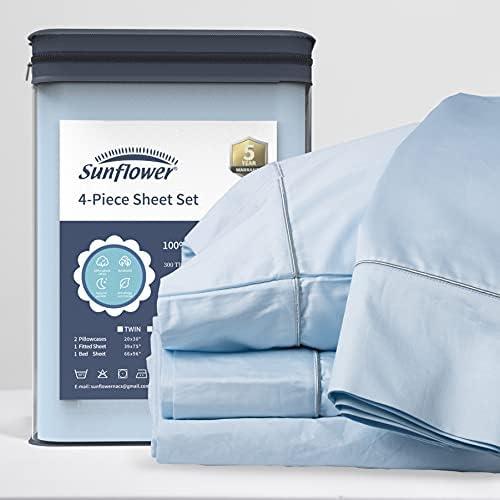 Sunflower 4 Piece Queen Sheets Deep Pocket, 100% Cotton Sheet Set, 22″ Extra Deep Pocket Queen Bed Sheets, Soft&Breathable Silver Trim, Cerulean