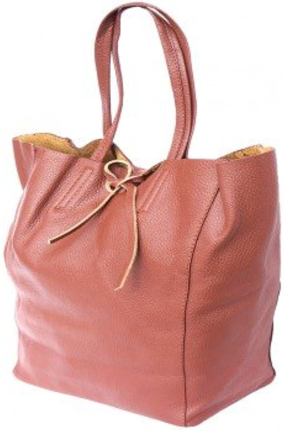 Imported Tote Shopping Bag in Genuine Leather Brown